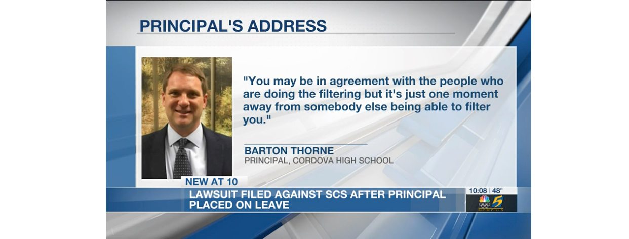 credit: WMC Action News 5 Principal Thorne files free speech lawsuit